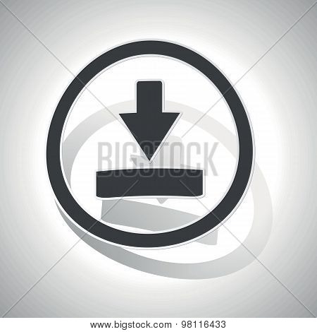 Curved download sign icon