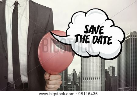 Save the date text on speech bubble