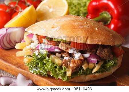 Doner Kebab With Meat And Vegetables Closeup. Horizontal