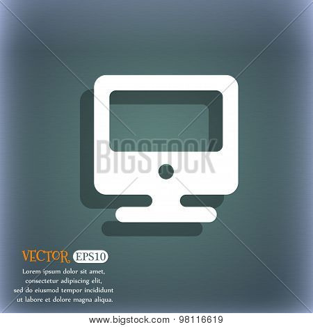 Monitor Icon Symbol On The Blue-green Abstract Background With Shadow And Space For Your Text. Vecto