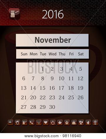 Template business calendar 2016 with design in tea, coffee and chocolate colors, November