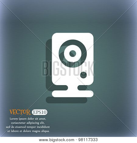 Web Cam Icon Symbol On The Blue-green Abstract Background With Shadow And Space For Your Text. Vecto