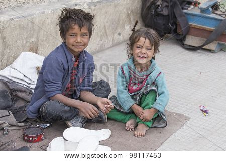 Poor Children On The Street In Leh, Ladakh, India