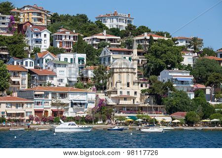 View Of Princes Islands Of Burgaz Adasi Hillside With Luxury Residential Housing On Coast, Turkey