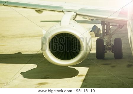 Close Up On Airplane Engine