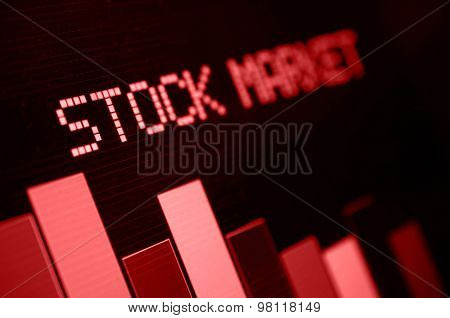 Stock Market - Column Going Down On Blue Display