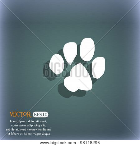 Trace Dogs Icon Symbol On The Blue-green Abstract Background With Shadow And Space For Your Text. Ve