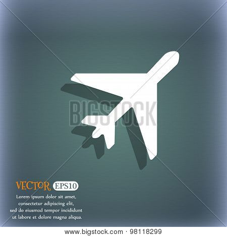 Airplane Icon Symbol On The Blue-green Abstract Background With Shadow And Space For Your Text. Vect