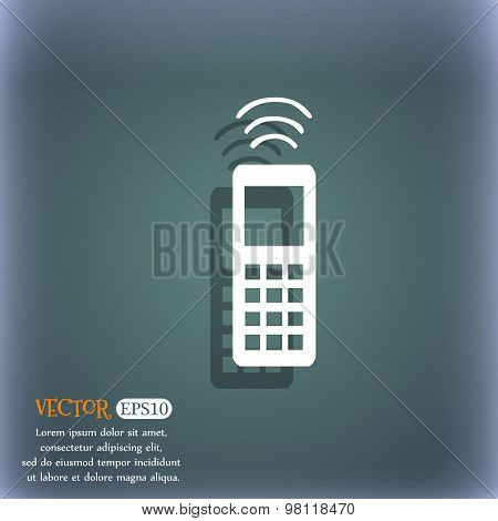 The Remote Control Icon Symbol On The Blue-green Abstract Background With Shadow And Space For Your