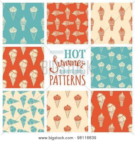 Set Of Seamless Ice-cream Cones Patterns.