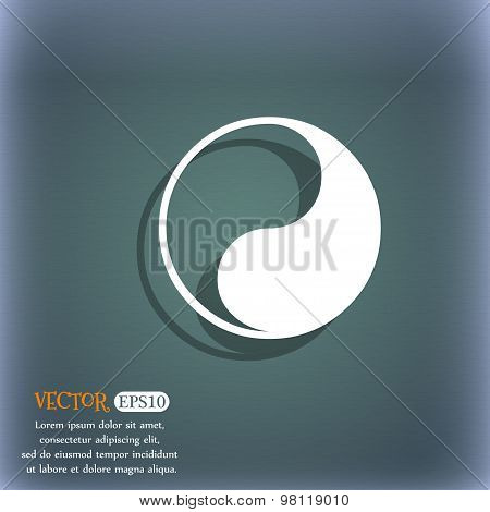 Yin Yang Icon Symbol On The Blue-green Abstract Background With Shadow And Space For Your Text. Vect