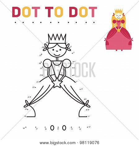 coloring book for girls Princess. Game connect the dots