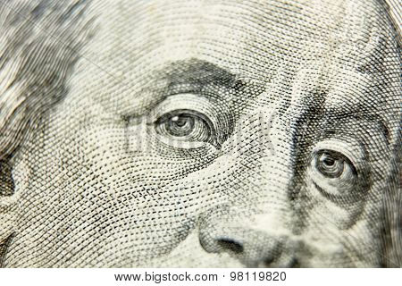 Macro close up of the US 100 dollar bill