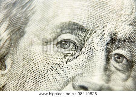 Macro close up of the US 100 dollar bill