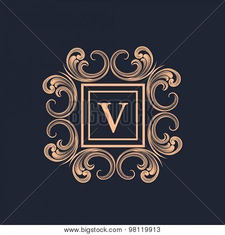Creative floral design decorated frame with English Alphabet V for monogram design on blue background.
