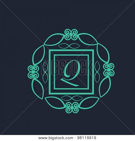 Stylish English Alphabet Q in creative floral frame for premium monogram design on blue background.