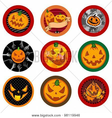 Hallooween Vector drink coasters with funny pumpkins for any party.