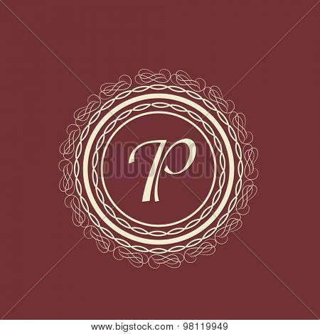 Elegant premium monogram design with English Alphabet P in floral pattern decorated rounded frame.