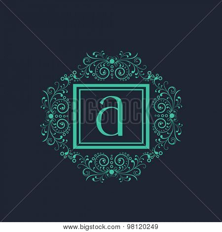 Beautiful floral design decorated frame with English Alphabet A on blue background for premium monogram.