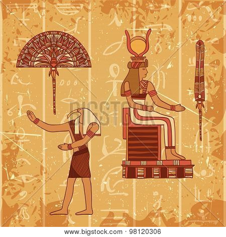 Vintage poster set with egyptian god, pharaoh, feather and fan on the grunge background with silhoue