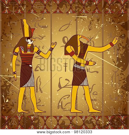 Vintage poster with egyptian gods on the grunge background with silhouettes of the ancient egyptian
