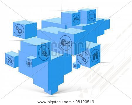 Various web icons on blue abstract background for Technology concept.