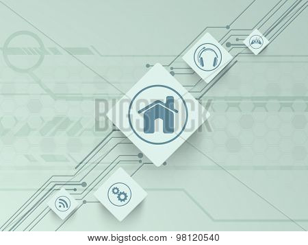 Set of web icons on hi-tech background for Technology concept.