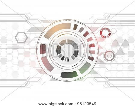 Abstract technology circles on grey hi-tech background.