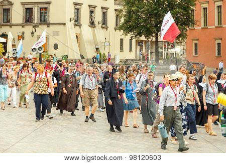 Warsaw. Religious procession of pilgrims.