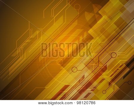 Creative abstract hi-tech background in brown color for Technology concept.