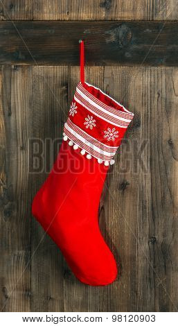 Christmas Stocking. Red Sock For Santa Gifts. Holidays Decoration