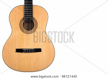 Body Classical Guitar With Yellow Deck On White Background