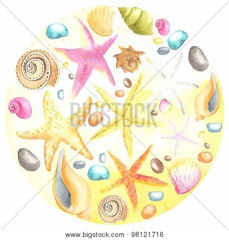Shells and starfishes on sand background