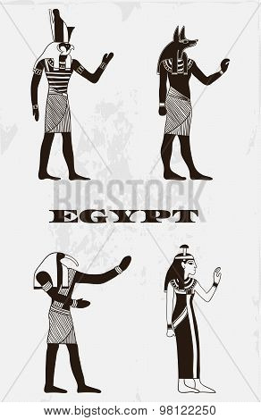 Vintage poster with egyptian gods on the grunge background. Retro hand drawn vector illustration