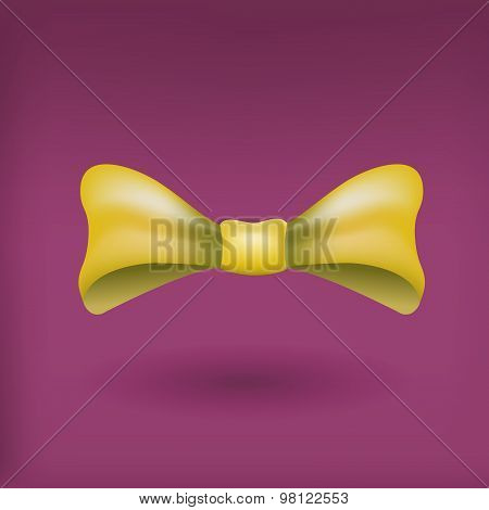 Glamorous vector 3d bow tie.  Yellow on violet background.