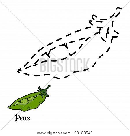 Connect The Dots Game: Fruits And Vegetables (peas)