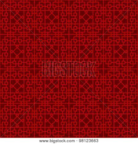 Seamless Chinese window tracery lattice geometry square diamond line background.