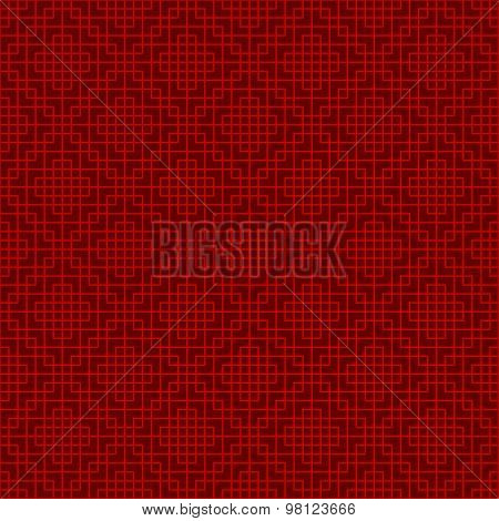 Seamless Chinese window tracery lattice square geometry line background.