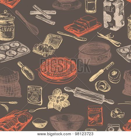 Vector bakery seamless patten. Vintage Illustration. Sketch.