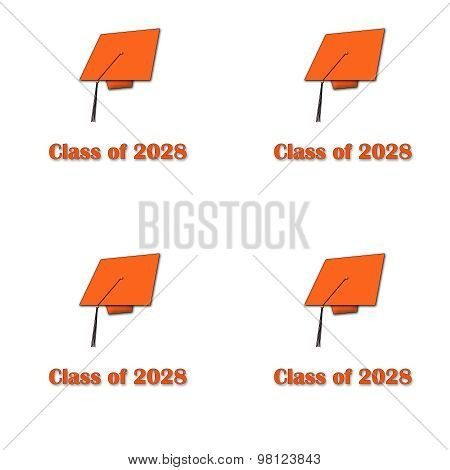Class of 2028 Orange on White Pattern Large