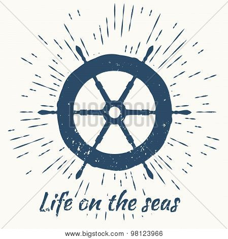 helm and vintage sun burst frame. life on the seas