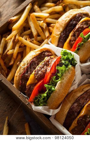 Double Cheeseburgers And French Fries