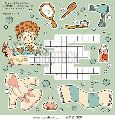 Vector Color Crossword, Education Game For Children About Bathroom And Beauty Items