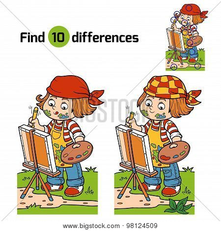 Find Differences (girl Artist Draws On Nature, Open Air)