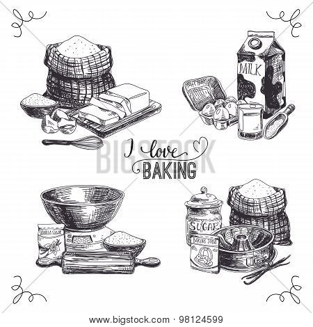 Vector hand drawn set of bakery goods. Vintage Illustration