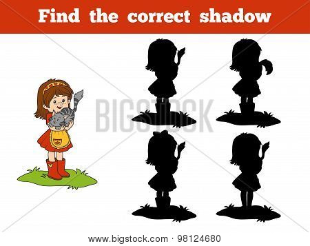 Find The Correct Shadow Game (little Girl And Cat)