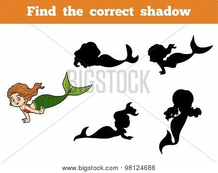 Find The Correct Shadow Game (little Girl Mermaid)