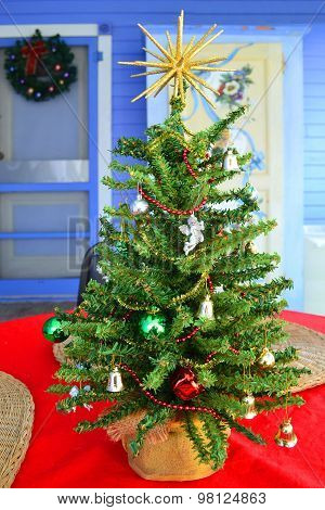 Table-Top Christmas Tree on the Porch