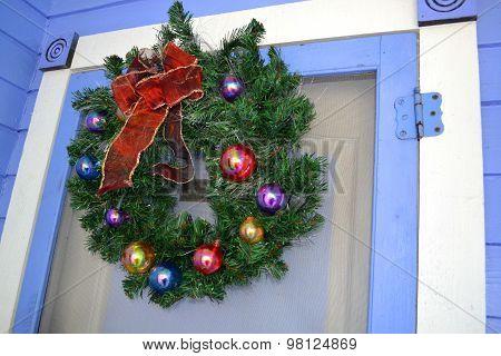 Christmas Wreath Hanging on the Door