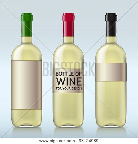 Transparent realistic bottle of wine